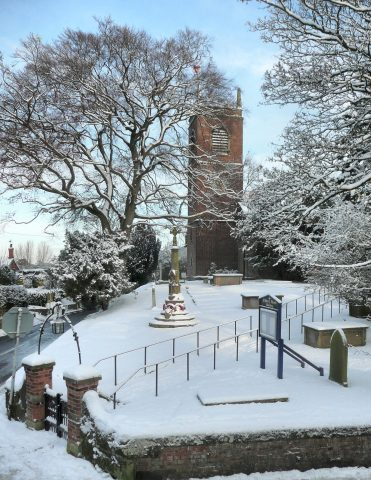 View of St Luke's Church in the Snow from the Graveyard on the opposite side of the road