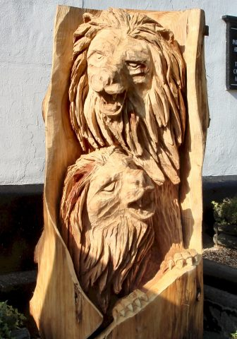 Woodcarving of a Lion