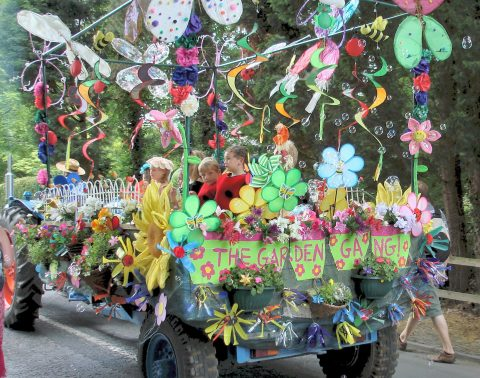 Goostrey Rose Festival Float with Children Dressed as Flowers
