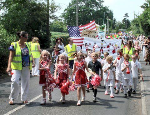 Children in the Goostrey Rose Festival parade